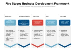 Five Stages Business Development Framework Ppt PowerPoint Presentation Portfolio Brochure PDF