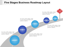 Five Stages Business Roadmap Layout Ppt PowerPoint Presentation Infographics Shapes PDF