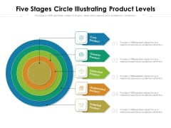 Five Stages Circle Illustrating Product Levels Ppt PowerPoint Presentation Gallery Graphics PDF