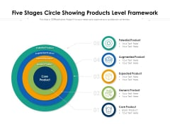 Five Stages Circle Showing Products Level Framework Ppt PowerPoint Presentation Gallery Layout Ideas PDF