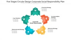 Five Stages Circular Design Corporate Social Responsibility Plan Ppt PowerPoint Presentation File Background Designs PDF