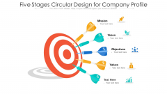 Five Stages Circular Design For Company Profile Ppt PowerPoint Presentation File Maker PDF