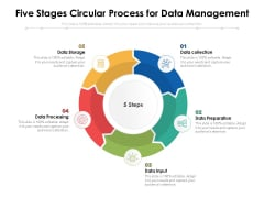Five Stages Circular Process For Data Management Ppt PowerPoint Presentation Slides Graphics Example PDF