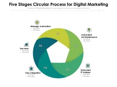 Five Stages Circular Process For Digital Marketing Ppt PowerPoint Presentation Outline Information PDF