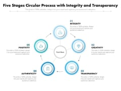 Five Stages Circular Process With Integrity And Transperancy Ppt PowerPoint Presentation Inspiration Icons PDF