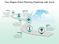 Five Stages Event Planning Roadmap With Icons Ppt PowerPoint Presentation Pictures Shapes