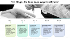 Five Stages For Bank Loan Approval System Ppt PowerPoint Presentation File Picture PDF