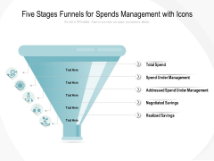 Five Stages Funnels For Spends Management With Icons Ppt PowerPoint Presentation Infographic Template Vector