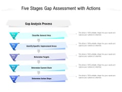 Five Stages Gap Assessment With Actions Ppt PowerPoint Presentation Ideas Good PDF