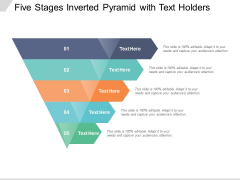 Five Stages Inverted Pyramid With Text Holders Ppt PowerPoint Presentation Icon Maker