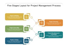 Five Stages Layout For Project Management Process Ppt PowerPoint Presentation Gallery Graphics PDF