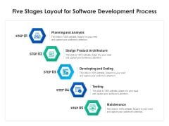 Five Stages Layout For Software Development Process Ppt PowerPoint Presentation Gallery Structure PDF