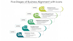Five Stages Of Business Alignment With Icons Ppt PowerPoint Presentation Gallery Rules PDF