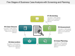Five Stages Of Business Case Analysis With Screening And Planning Ppt PowerPoint Presentation Gallery Background PDF
