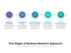 Five Stages Of Business Research Approach Ppt PowerPoint Presentation Summary Tips PDF