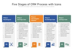 Five Stages Of CRM Process With Icons Ppt PowerPoint Presentation Show Example PDF