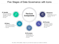 Five Stages Of Data Governance With Icons Ppt PowerPoint Presentation Summary Information