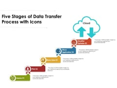Five Stages Of Data Transfer Process With Icons Ppt PowerPoint Presentation Icon Infographic Template PDF