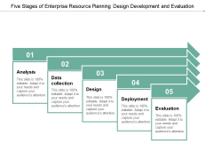 Five Stages Of Enterprise Resource Planning Design Development And Evaluation Ppt Powerpoint Presentation Infographics Templates