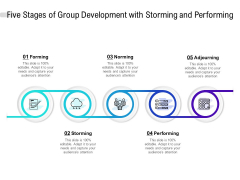 Five Stages Of Group Development With Storming And Performing Ppt PowerPoint Presentation Inspiration Templates