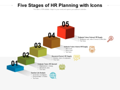 Five Stages Of HR Planning With Icons Ppt PowerPoint Presentation File Ideas PDF