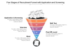 Five Stages Of Recruitment Funnel With Application And Screening Ppt PowerPoint Presentation Slides Layout Ideas PDF