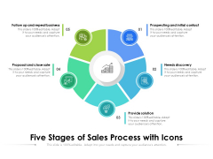 Five Stages Of Sales Process With Icons Ppt PowerPoint Presentation Ideas Maker PDF