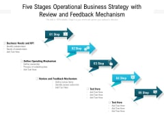 Five Stages Operational Business Strategy With Review And Feedback Mechanism Ppt PowerPoint Presentation Slides Example PDF