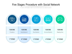 Five Stages Procedure With Social Network Ppt PowerPoint Presentation Summary Introduction PDF