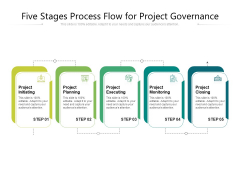 Five Stages Process Flow For Project Governance Ppt PowerPoint Presentation Gallery Outfit PDF