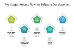 Five Stages Process Flow For Software Development Ppt PowerPoint Presentation Gallery Samples PDF