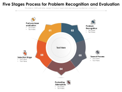 Five Stages Process For Problem Recognition And Evaluation Ppt PowerPoint Presentation Slides Slideshow PDF