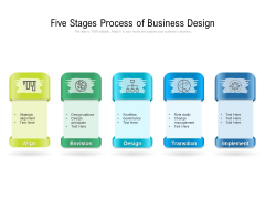 Five Stages Process Of Business Design Ppt PowerPoint Presentation Icon Deck PDF