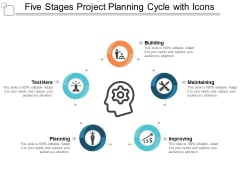 Five Stages Project Planning Cycle With Icons Ppt Powerpoint Presentation Professional Example Topics