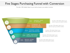 Five Stages Purchasing Funnel With Conversion Ppt PowerPoint Presentation File Graphics Pictures PDF