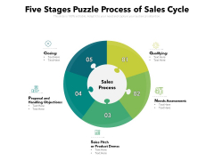 Five Stages Puzzle Process Of Sales Cycle Ppt PowerPoint Presentation Professional Themes PDF
