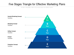 Five Stages Triangle For Effective Marketing Plans Ppt PowerPoint Presentation Gallery Graphics Tutorials PDF