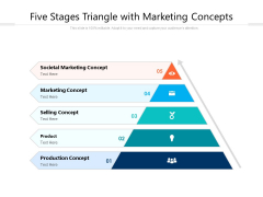 Five Stages Triangle With Marketing Concepts Ppt PowerPoint Presentation Gallery Ideas PDF