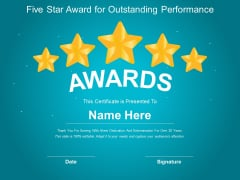 Five Star Award For Outstanding Performance Ppt PowerPoint Presentation Model Show