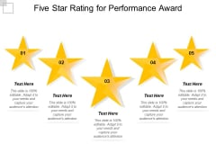 Five Star Rating For Performance Award Ppt PowerPoint Presentation Portfolio Slide Download