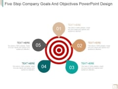Five Step Company Goals And Objectives Ppt PowerPoint Presentation Example 2015