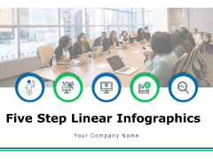 Five Step Linear Infographic Process Plan Ppt PowerPoint Presentation Complete Deck