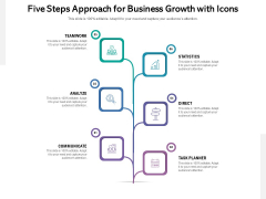 Five Steps Approach For Business Growth With Icons Ppt PowerPoint Presentation Gallery Graphics Pictures PDF