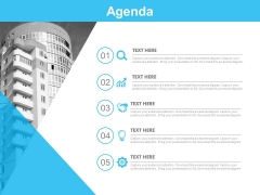 Five Steps Business Agenda With Icons Powerpoint Slides