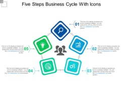 Five Steps Business Cycle With Icons Ppt PowerPoint Presentation Layouts Design Ideas