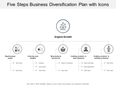 Five Steps Business Diversification Plan With Icons Ppt PowerPoint Presentation Layouts Topics