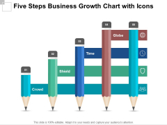 Five Steps Business Growth Chart With Icons Ppt PowerPoint Presentation Model Sample