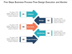 Five Steps Business Process Flow Design Execution And Monitor Ppt Powerpoint Presentation Outline Picture