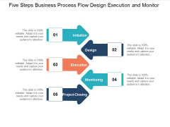 Five Steps Business Process Flow Design Execution And Monitor Ppt PowerPoint Presentation Outline Template