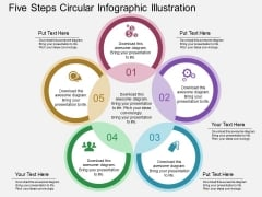 Five Steps Circular Infographic Illustration Powerpoint Template